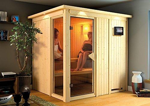 Palin - Karibu Sauna inkl. 9-kW-Ofen - ohne Dachkranz -