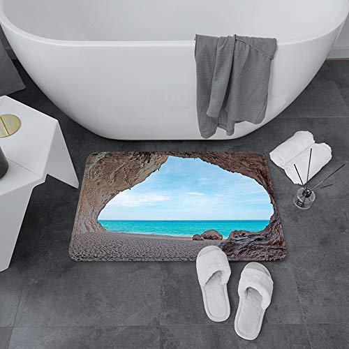 Badematte rutschfest 60x100 cm,Natürliche Höhle ations, verträumte Cara Luna-Höhle durch den tropischen St,Bodenmatte oder Badvorleger für Dusche, Badewanne und Toilette - für Fußbodenheizung geeignet