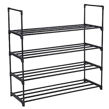 SONGMICS 4-Tier Shoe Rack Shoe Tower Shelf Storage Organizer Cabinet Black ULSA14BK