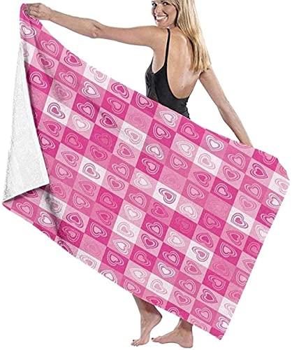 LUYIQ Asciugamano da Spiaggia in Microfibra,Asciugatura Rapida Telo Mare -Amore cuori rosa a scacchi-70x150CM,Sottile Teli Asciugamano Mare per Yoga, Piscina,Bagno