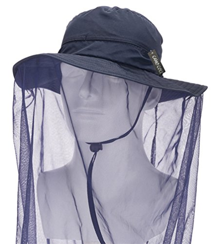 CAMO COLL Outdoor Anti-Mosquito Mask Hat with Head Net Mesh Face Protection (Navy Blue, One Size)