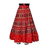 UniqueChoice Women's Printed Cotton Wrap Around Skirt (Red, Free Size)