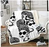 BEDJFH Dama Moderna 3D Sherpa Manta Modelo Dama Blanco y Negro Manta de Felpa 130cm x 150cm Manta de Lana Sobrecama para Baby Shower Mantas para Cama Sofá Dormitorio Vivero