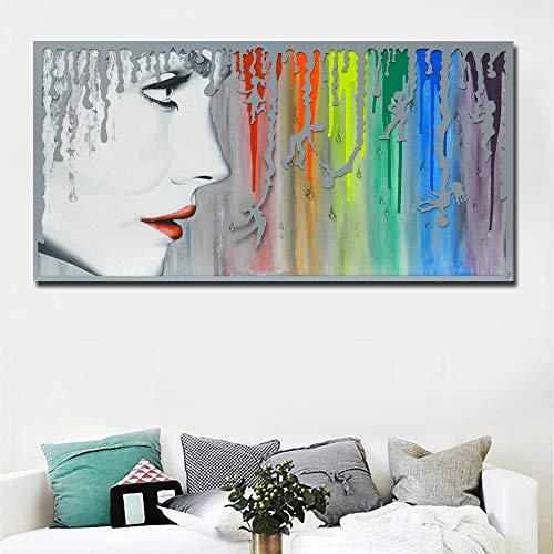 Flduod abstract meisje portret poster prints canvas schilderij met regenboog muur olieverfschilderij posters muur foto's voor de woonkamer 60x120cm