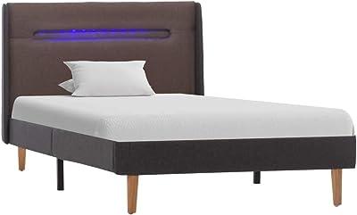 vidaXL Cadre de Lit avec LED Lit Rembourré Sommier à Lattes Lit Simple Lit Adulte Chambre à Coucher Maison Intérieur Taupe Tissu 90x200 cm