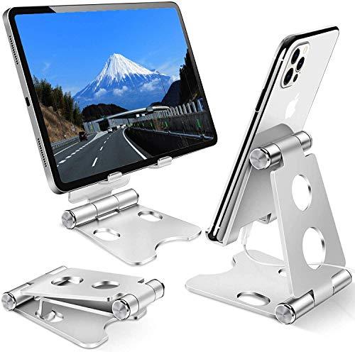 スマホ スタンド 携帯ホルダー タブレット スタンド 折り畳み式 卓上縦置きスタンド PCホルダー シリコン滑り止め 収納便利 iPhone/iPad/Android/Nintendo Switch/Kindleに対応 (シルバー)