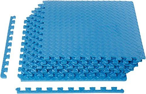 Amazon Basics Foam Interlocking Exercise Gym Floor Mat Tiles - Pack of 6, 24 x 24 x .5 Inches, Blue