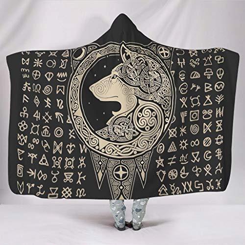 nanjingjin – Manta portátil con capucha suave y cálida manta de terciopelo coral para adultos y niños blanco 130 x 150 cm