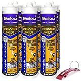 QUILOSA - Kit 6 adhesivo Quilosa MS Power Fix Instant Strong blanco 290ml Edición Especial Bricolemar con llavero abrebotellas de regalo
