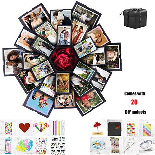Mydee DIY Explosion Box, creatieve doe-het-zelf handgemaakte verrassing explosie geschenkdoos liefdesherinnering, Scrapbooking fotoalbum geschenkdoos voor bruiloft verjaardag Valentijnsdag verjaardag Festival