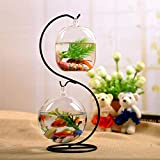 Kedoung Desk Fish Tank Bowl for Betta Fish Hanging with Metal Stand, Small Fish Aquarium for Decoration