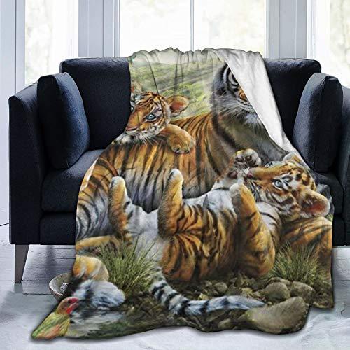 COMRTL Flannel Fleece Throw Blanket Bed Blanket Jungle Tigers Cub Micro Fleece Blanket Warm Soft Lightweight Cozy Microfiber Blanket Throw for Bed Couch Sofa All Seasons