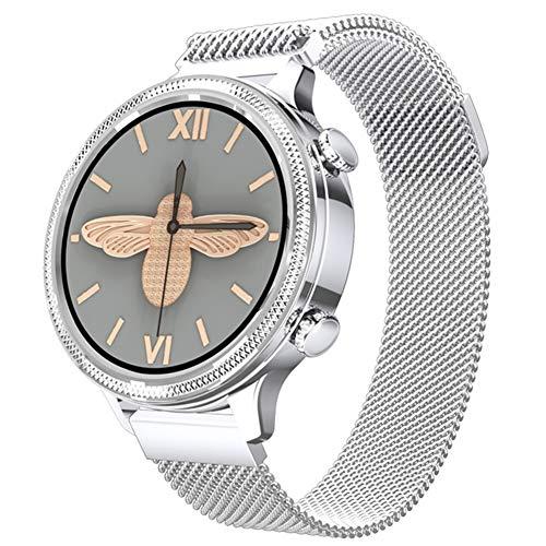 LSQ Smart Watch, Monitor de Ritmo cardíaco con círculo Completo de 1.1 Pulgadas, Reloj de Fitness para Mujer Impermeable IP67,C