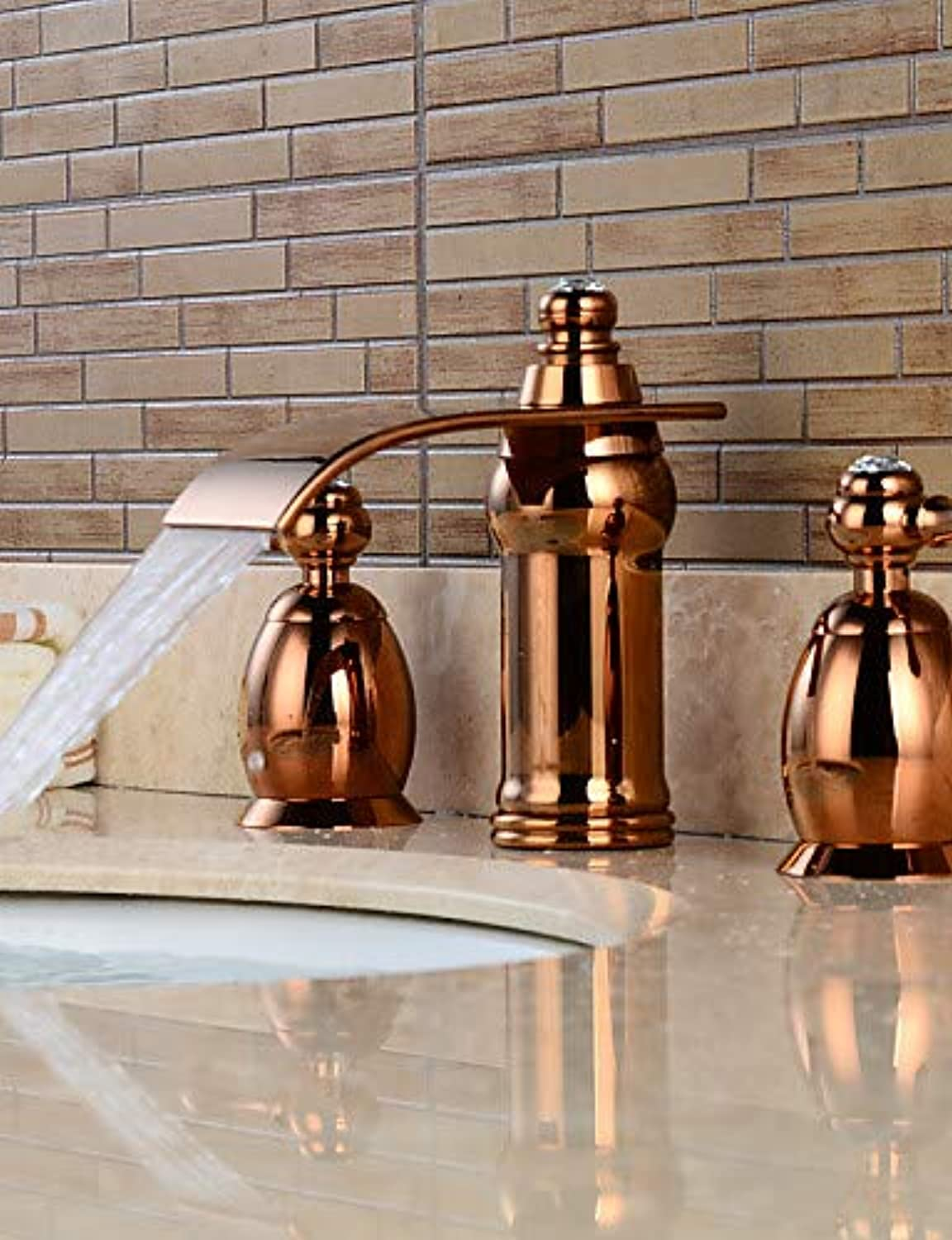 Mainstream home LPZSQ Tap Widespread Two Handles Three Holes in pink gold Bathroom Sink Faucet, gold  1119