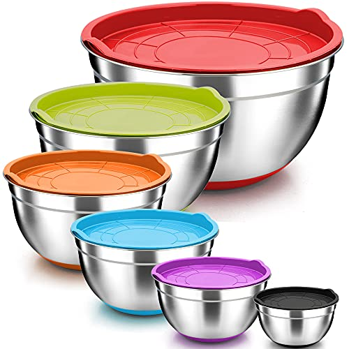 TeamFar Mixing Bowls, Stainless Steel Mixing Bowls with Lids, Nesting...
