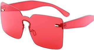 Oversized Square Sunglasses Yellow Red Orange White Big Large Rimless Frameless Eyeglasses