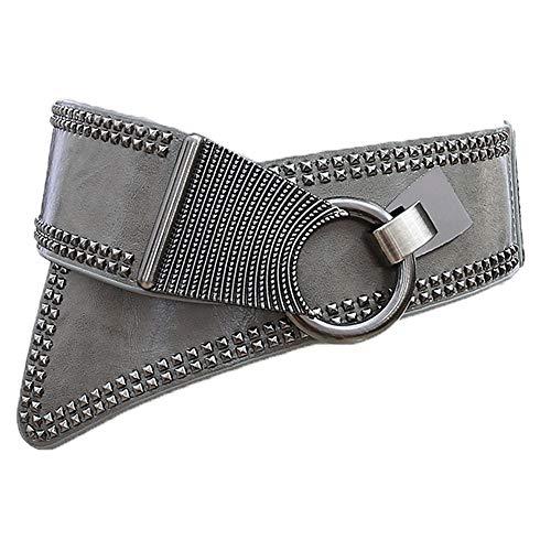 LUOSFUH Cinturón ancho de cuero de PU de la mujer Elástico Punk Rock