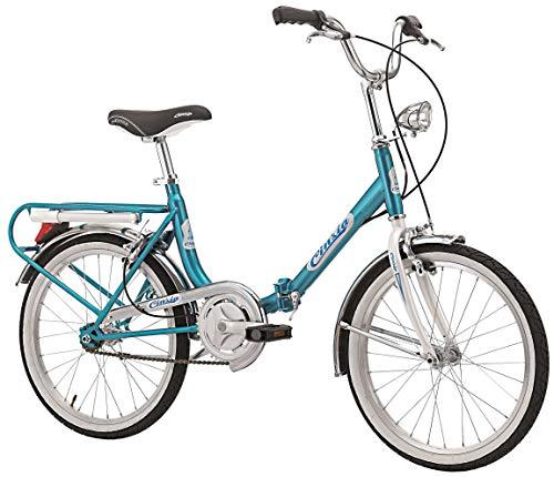 Cicli Cinzia Bicicletta 20' Pieghevole Firenze, Senza Cambio, Azzurro/Bianco, Unisex – Adulto