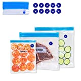 VICARKO Vacuum Sealer Zipper Bags 30 BPA Free with Air Valve Double Layers Sous Vide Cooking Replacement for Portable Handheld Pump Reusable Resealable Plastic Sandwich Freezer Bags for Food Storage Kitchen Combo