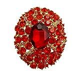 TTjewelry Gorgeous Oval Art Nouveau Luxury Brooch Austrian Crystal (Red)