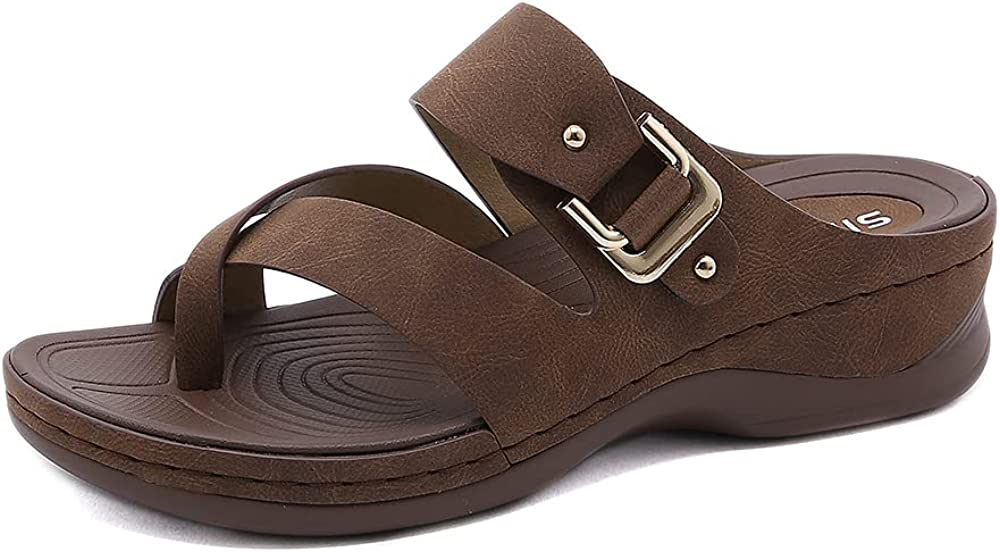 ZAPZEAL Sandals for Women Wedge Slide Sandals with Double Buckle Anti Slip Casual Sandals Summer Flip-Flops Ring Open Toe Beach Sandal Comfort Walking Shoes, Size 6-10 US