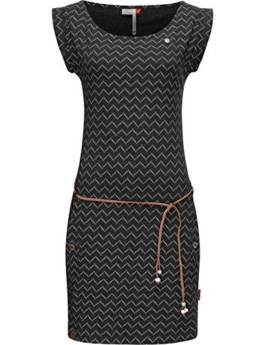 Ragwear Damen Baumwollkleid Jerseykleid Sommerkleid Strandkleid Tag Zig Zag Schwarz20 Gr. L