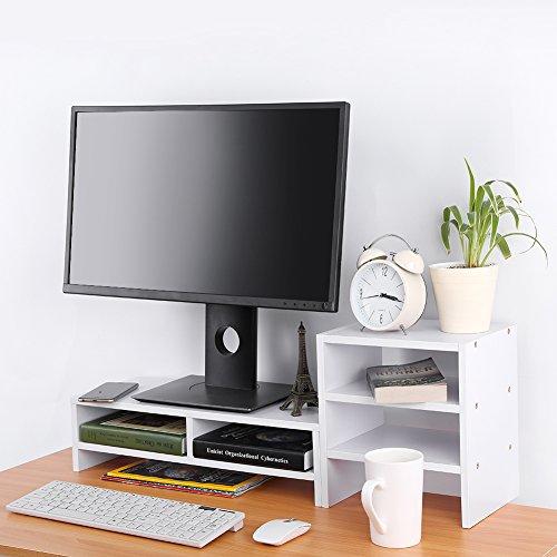 CLAUKING Soporte Alzador de Pantalla Monitor para Ordenador de Madera, Monitor Stand Lever Pantalla PC TV con estantería de Almacenamiento Tablet