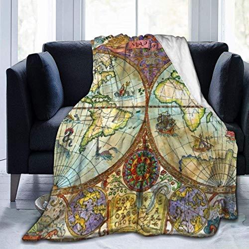 AEMAPE Acuarela, Mapa del Mundo Vintage, Dibujos de Grunge Antiguo, símbolos místicos, Disco de Aventuras, Manta cálida para Todas Las Estaciones, Manta
