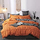 Mengersi Simple Duvet Cover Set Twin Size,Plaid Reversible Bedding Set with Zipper Corner Ties(Orange Grid)