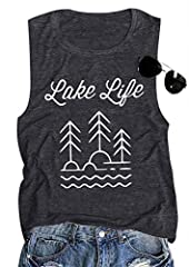 ❤ Material: Cotton Blend ❤ Features: Lake Mode Letter Print, Sleeveless, Round Neck, Casual Loose Style ❤ Suitable for Spring, Summer, Autumn, Winter. Great Match with Jeans, Skinny Pants, Legging ❤ Occasion: Lake Mode Tank Top, Great to Wear For Dai...