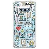 dakanna Funda para [Samsung Galaxy S10e] Dibujo: Simbolos Medicina Enfermera Ambulancia Corazón Hospital, Carcasa de Gel Silicona Flexible [Fondo Transparente]