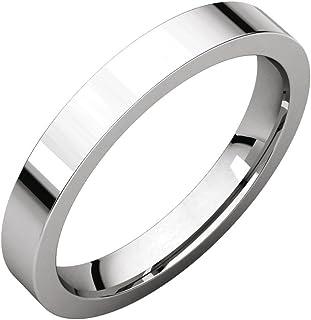 FB جواهر 925 فضة استرلينية 3 مم مسطحة مريحة تناسب الرجال خاتم الزفاف
