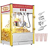 Commercial Retro Popcorn Machine With Measuring Cup, Tablespoon Popcorn Scoop, Popcorn Containers & Salt Shaker, Popcorn Maker 8oz Large Capacity built-in insulation deck (Double Door,Red)