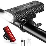 IPSXP Fahrradbeleuchtung Set, USB Wiederaufladbare Fahrradlicht LED Fahrradlampen Set Mit Rücklicht 500 m Sichtbarkeit, Abnehmbar Tragbare Taschenlampe, IPX5 Wasserdicht