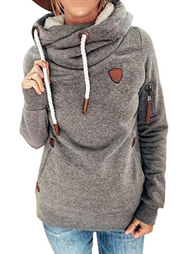 HOTAPEI Plus Size Womens Cool Hoodies Cowl Neck Hooded Sweatshirt Casual Long Sleeve Pullover Drawstring Thick Hoodie Tunic Top Gray XX-Large