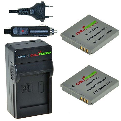 2x Batería + Cargador ChiliPower Canon NB-4L 900mAh para Canon Digital IXUS 30, 40, 50, 55, 60, 65, 70, 75, 80 IS, i7, Powershot SD30, SD40, SD200, SD300, SD400, SD430, SD450, SD600, SD630, SD750, SD780 IS, SD940 IS, SD960 IS, SD970 IS, SD1000, SD1100 IS, SD1100 IS, SD1400 IS, TX1, ELPH 100 HS, 300 HS, 310 HS, 330 HS, VIXIA mini