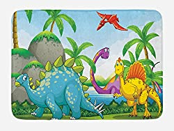 1. Ambesonne Dinosaurs Living in The Jungle Bath Mat