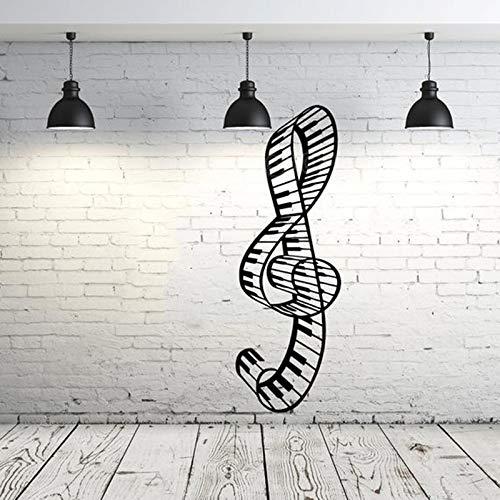 Musiknotiz Aufkleber Vinyl Aufkleber Wandtattoo Höhenschlüssel Notenschlüssel Klavier Note Wave Musik Aufnahmestudio Wandaufkleber Home Decal und Garten Dekoration20x57cm