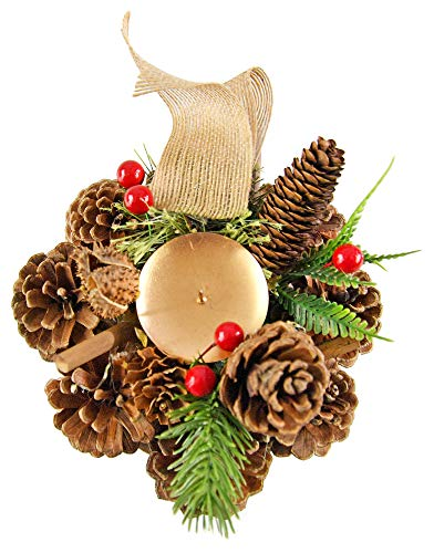 "Home-X Pinecone Christmas Wreath Candle Holder, Artificial Advent Wreath, Red Berry Winter Home Decorations (6"" D)"