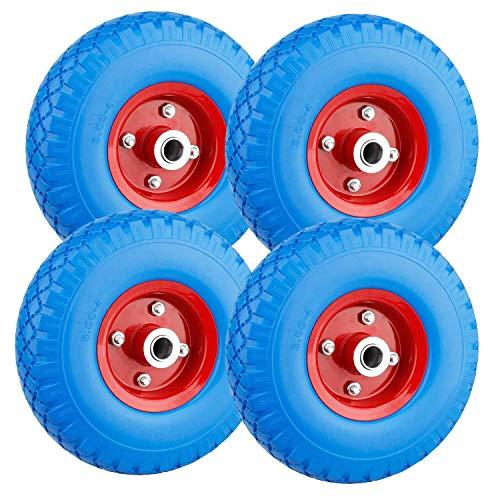 Forever Speed Rueda de poliuretano 3.00 - 4 ruedas de rueda para carretilla, neumático de goma de goma universal de carretilla PU en Llanta de acero negro con 80 kg de carga 260 x 75 mm, 4 pcs
