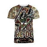 Camiseta De Manga Corta con Cuello Redondo De Verano para Hombres ACDC Heavy Metal Rock Band Patrón 3D Imprimir Camiseta De Seda De Leche Transpirable Casual Sudadera Juvenil Salvaje (5,M)