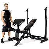 Marcy Eclipse BE3000 – Banc de musculation indépendant multifonctions jusqu'à 270 kg – Rack à Squat indépendant jusqu'à 135 kg – Leg Extensions – Pupitre à biceps – Dossier position Abdo Crunch