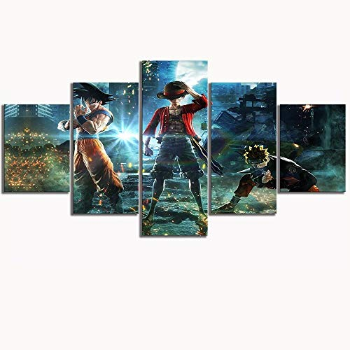 Factorydiy Cuadros Grandes Baratosball Goku Naruto One Piece Luffy Poster HD Pictures For Living Room Wall Decor-B-Framed_30X40X2 + 30X60X2 + 30X80Cm + 1
