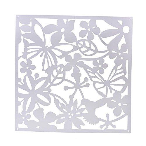 Générique 4pcs Paravent de Sallon Fleur Papillon Décoration de Salle Sallon 40 * 40 * 0.8cm - Blanc