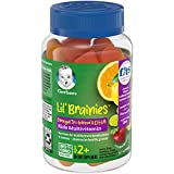 Gerber Lil Brainies Kids Gummy Multivitamin: Omega 3, 6 & 9 from chia Seed Oil, Plant-Based DHA and Choline for Brain Development & Memory, Non-GMO, Gluten-Free, 60 Count