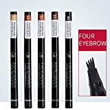 QYY 4 Head Bifurcation Liquid Augenbrauenstift, 5 Sets Augenbrauen Make-up Schnelltrocknend...
