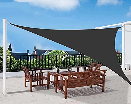 QDY -Triángulo De Vela De Sombra para El Sol, Toldo De Bloque UV del 98% para Patio, Velas De Sombra De Jardín En Ángulo Recto, Toldos para Sombrilla con Kit De Fijación para Césped,3 Black,5x5x7.1m