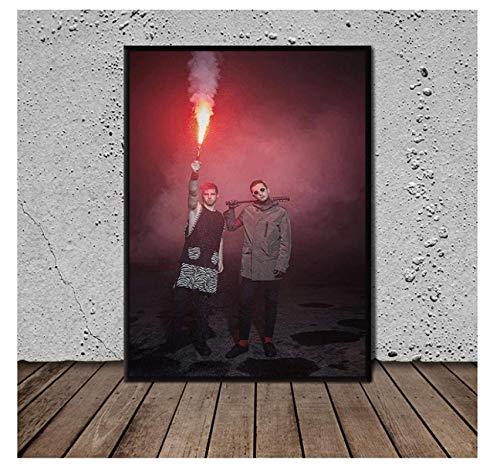 Bombas de humo y bengalas Impresión de carteles de arte de pared Pintura en lienzoIlustraciones de pintura ImágenesSala de estar Decoración del hogar -20x30 IN Sin marco