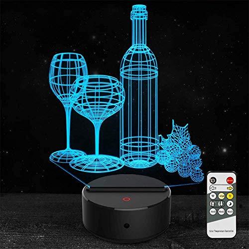 3D ilusión lámpara led vino taza botella creatividad noche luz 16 colores luces led con interruptor táctil para niños regalos decoración dormitorio