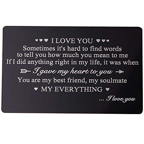 Gifts for Boyfriend Engraved Wallet Insert, Anniversary Gifts for Men, I Love You, Metal Wallet Card Insert, Mini Love Note, Anniversary Card from Wife, Anniversary Cards for Husband, Deployment Gift